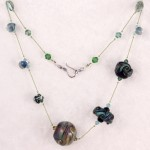 Barbaras Garden Lampwork Art Glass on Green Silk