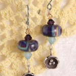 Beige and Purple Lampwork Glass with Birds Nests