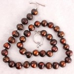 Big Burgundy Pearls on Dark Brown Silk