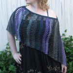 Black Purple Gray Asymmetrical Poncho - Acrylic