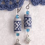 Blue Clay Beads w Celtic Knots