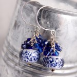 Cobalt Spotted Lampwork Glass with Swarovski Clusters