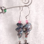 Blue and Pink Twisty Lampwork Glass with Flowers