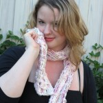 Cream and Pink Basketweave Scarf - Bamboo and Acrylic