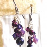 Dark Purple Cluster Earrings