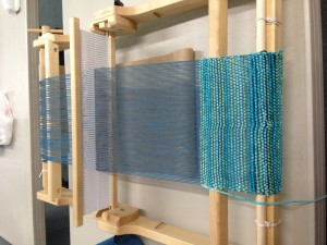 First weaving project - cotton warp, cotton chenille weft.