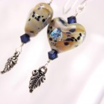 Tan and Navy Lampwork Glass Hearts with Fern Leaves