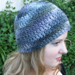 Gray Purple Black Beanie - Acrylic and Wool
