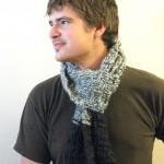 Gray and Black Basketweave Scarf - Acrylic