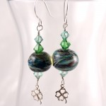 Green Swirl Lampwork with 4-Leaf Clovers