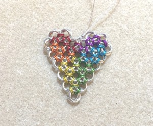 chainmaille rainbow heart pendant