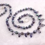 Iolite and Freshwater Pearl on Blue Silk