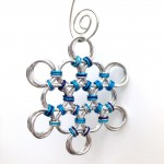 Large Mixed Blue Chainmaille Snowflake