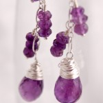 Wire Wrapped Amethyst Tear Drops on Long Chain