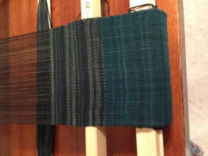 Custom scarf for my hubby - superwash wool sock yarn warp and weft.
