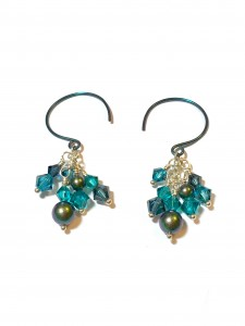 Teal Cluster Earrings