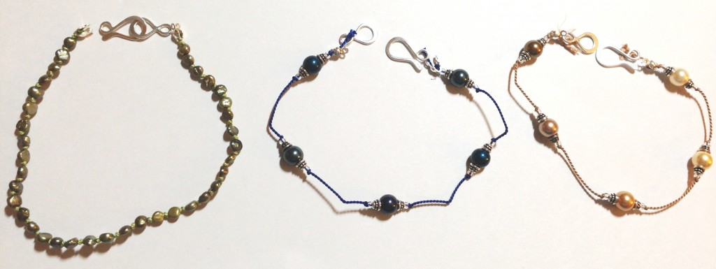 Sage green seed pearls, Blue Swarovski Pearls, Gold and Brass Swarovski Pearls