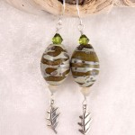 Olive Camo Lampwork Eggs with Oak Leaves