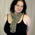 Openwork Gray Sage Scarf - Baby Llama Merino Donegal