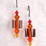 Orange and Black Cane Glass
