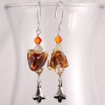 Orange and Tan Lampwork Chevrons with Trumpet Flowers