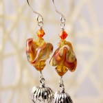 Orange and Yellow Lampwork Chevrons with JackOLanterns