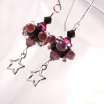 Magenta and Black Bumpy Lampwork Glass with Stars