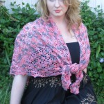 Pink and Gray Triangle Shawl - Acrylic and Nylon