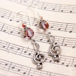 Purple Czech Glass w Treble Clefs