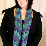 Purple Green Teal Scarf - Curly Wool