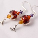 Orange and Purple Lampwork Glass with Witches