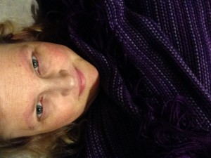 The Artist with her most recent creation: A Woven Purple Shawl