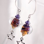 Yellow Purple Swirl Lampwork Glass with Stars