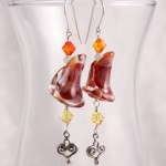 Red Lily Lampwork Glass w Scroll Hearts