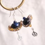 Ruffled Gold and Navy Lampwork Glass with Lace Motif