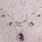 Tanzanite Galactic Pendant on Leaf Green Silk