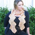 Yellow Orange Granny Squares Scarf - Acrylic and Nylon
