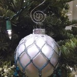 Custom Shaded White to Teal Beaded Ornament